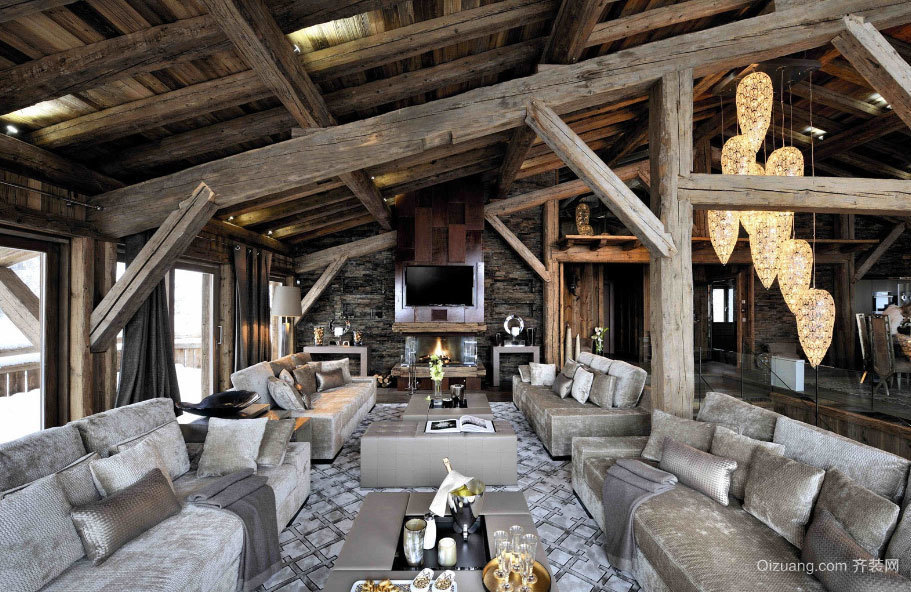 180平米豪华优雅的现代化木屋别墅设计效果图