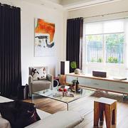深色大气的客厅窗帘图