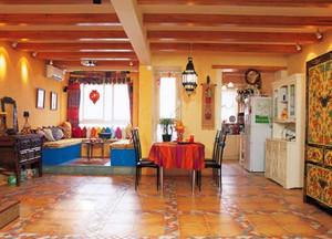 温暖橙色客厅吊顶展示
