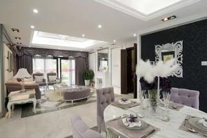 180平米薰衣草紫搭配白色系的欧式浪漫房屋装修图