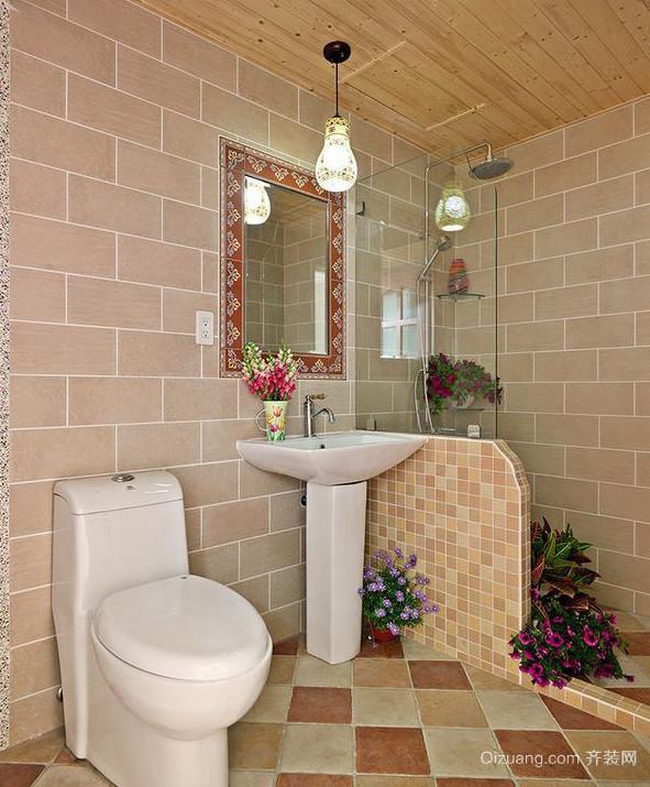 三居室美式乡村田园风格卫生间设计装修效果图