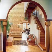 暖色调别墅圆门设计