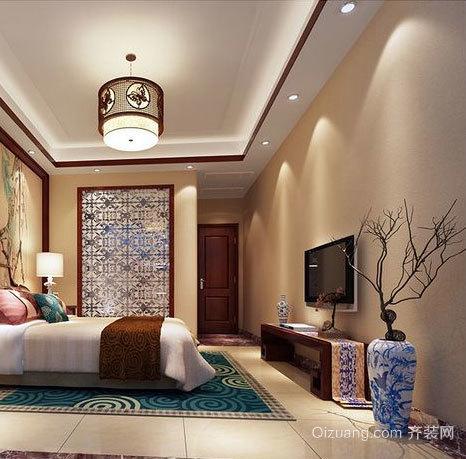 色彩鲜明中式卧室壁纸装修效果图