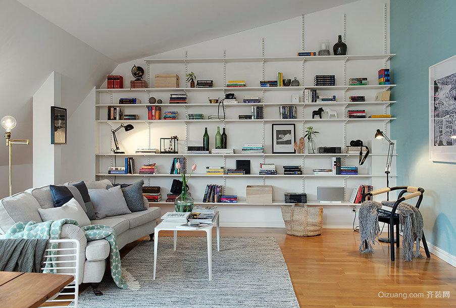 北欧帅气80平米阁楼书房装修效果图