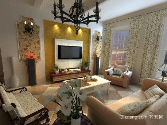 三居室田园风格客厅电视背景墙