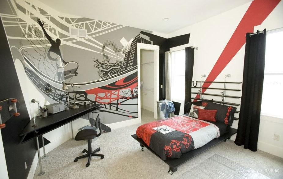 50平米专为男生打造的个性化魅力卧室装修效果图