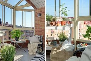 亮色系双层公寓客厅阳台装修设计效果图