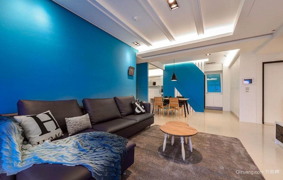120平米静谧蓝色打造的温馨浪漫的两居室装修效果图