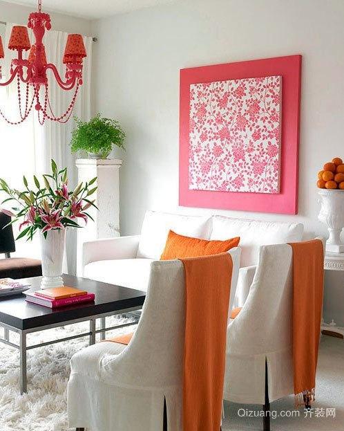80平米色彩鲜明的简约风格客厅装修效果图