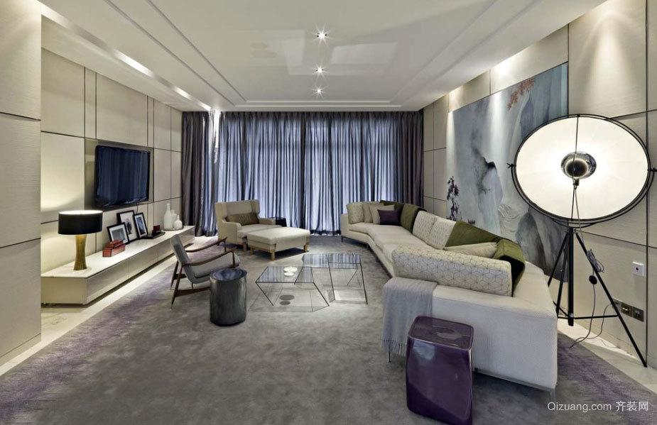 120平米各式风格设计的简约客厅装修效果图