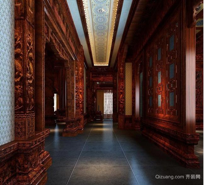 个性鲜明中式别墅走廊吊顶装修效果图