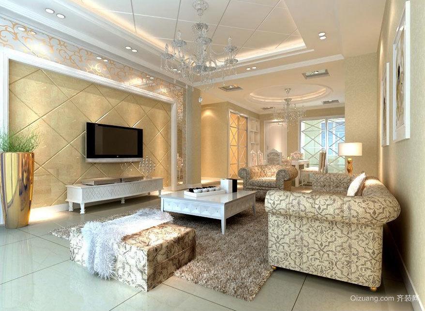 欧式大气的大户型客厅背景墙装修效果图鉴赏