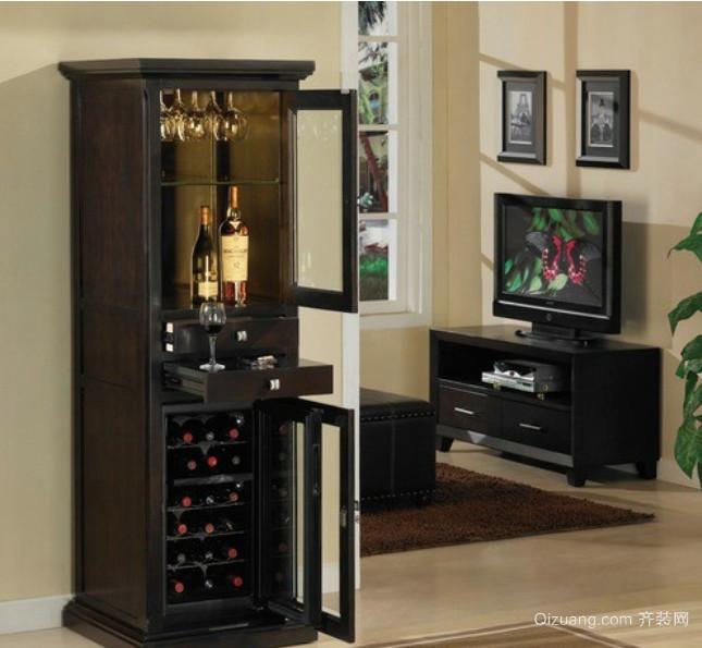 法式浪漫红酒酒柜图片装修效果图
