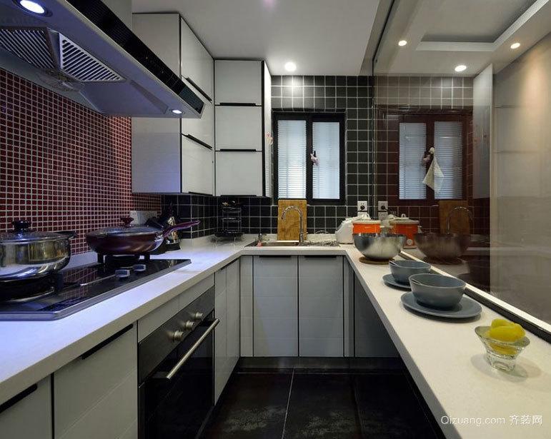 小户型时尚大气原木橱柜搭配的厨房装修效果图