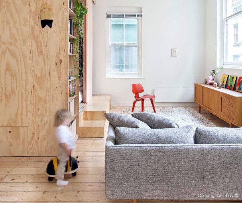 80平米欧式原木系简约复式楼装修效果图