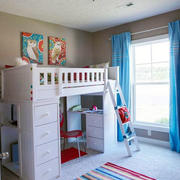 白色简约儿童房双人床