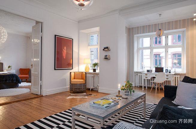 120㎡暖橙色北欧三居室家居装修效果图鉴赏
