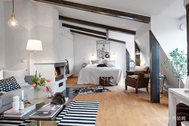 50平米迷人混搭小户型斜顶阁楼公寓装修效果图