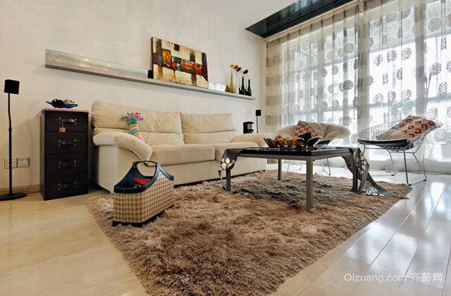 85平米现代田园风格家庭家居室内客餐厅装修效果图