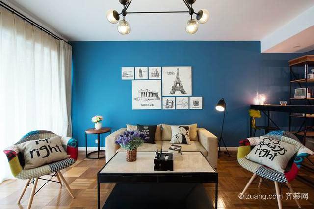 两室一厅蓝色工业风家居装修效果图