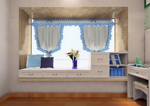 两室一厅优雅清新的飘窗装修效果图
