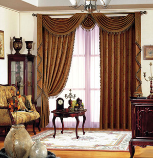 深色调窗帘设计图片