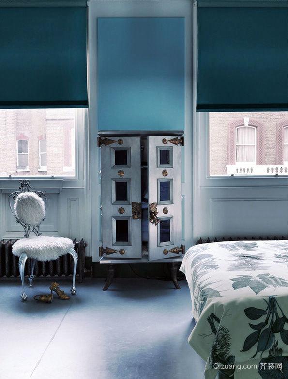 独特而优雅的蓝色公寓室内装修效果图欣赏