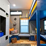 蓝色调儿童房双人床