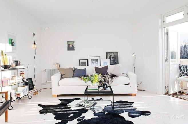 110平米优雅纯色三室一厅室内装潢装修效果图
