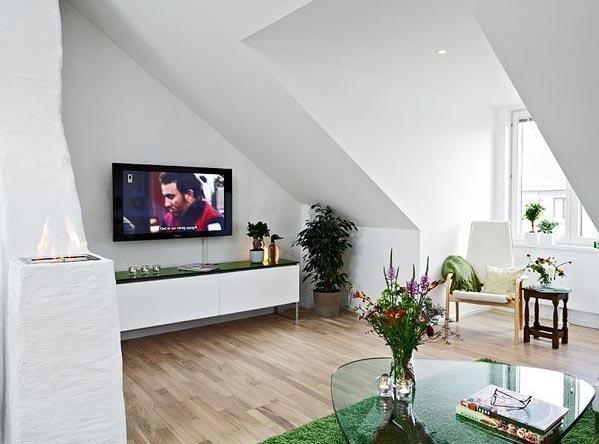 90平米田园自然 斜顶 阁楼 房屋 客餐厅装修效果