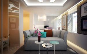 银灰色现代简约客厅吊顶装修效果图大全