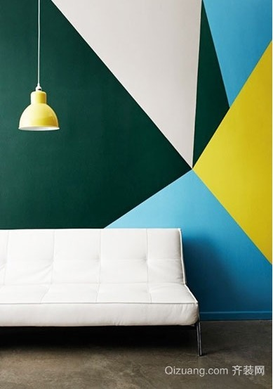 缤纷几何色块装扮个性小户型客厅装修效果图
