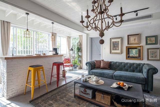 100㎡潮流感十足的欧式loft公寓装修效果图
