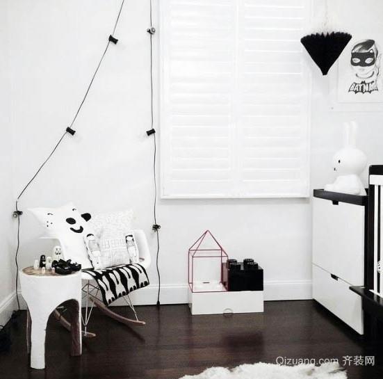 造就不一样的黑白色儿童房装修设计效果图