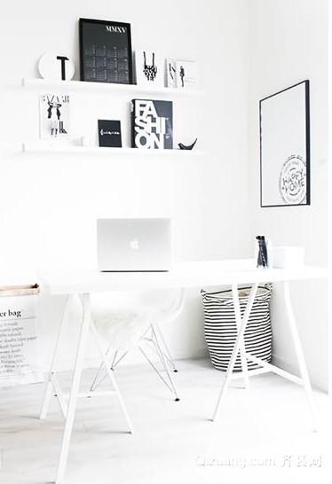 黑白超级省空间简约书房办公区装修设计效果图
