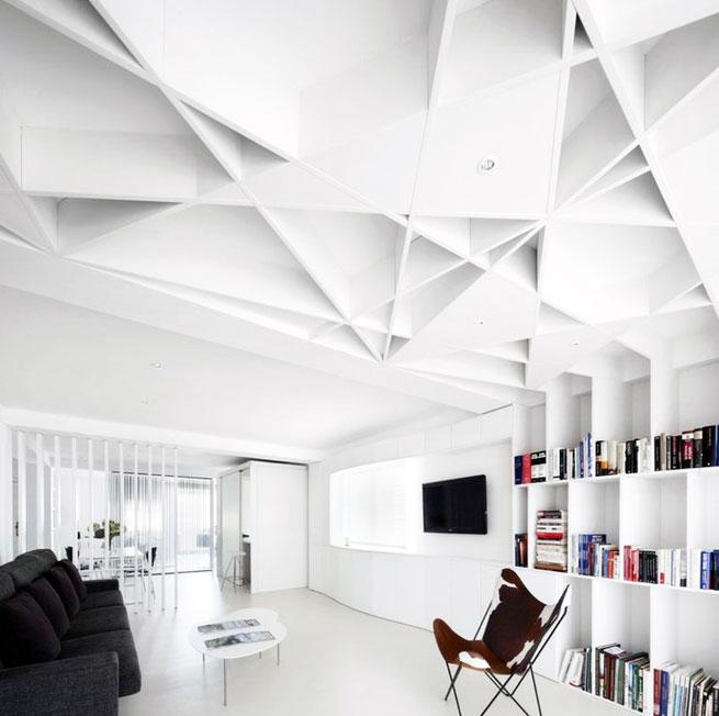 纯 白色 北欧风格 客厅吊顶 装修效果图欣赏 齐装