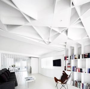 纯白色北欧风格客厅吊顶装修效果图欣赏