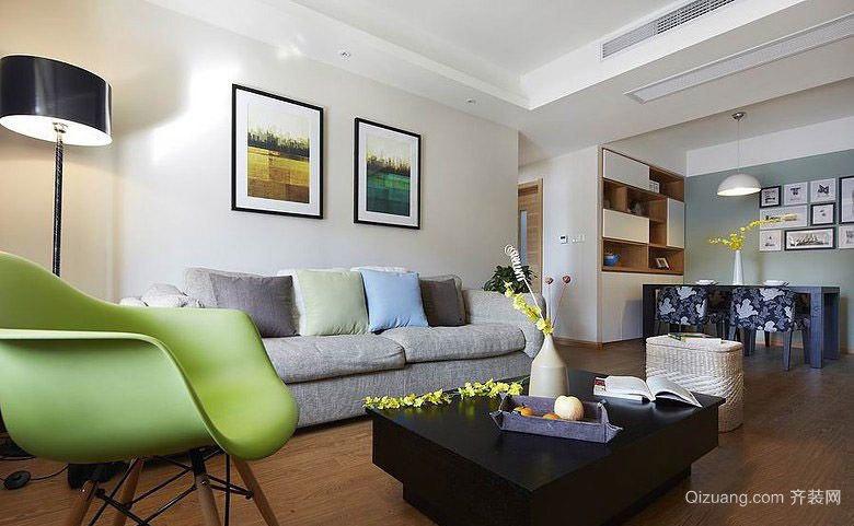 90平米简约美家线条明快的两居室装修效果图