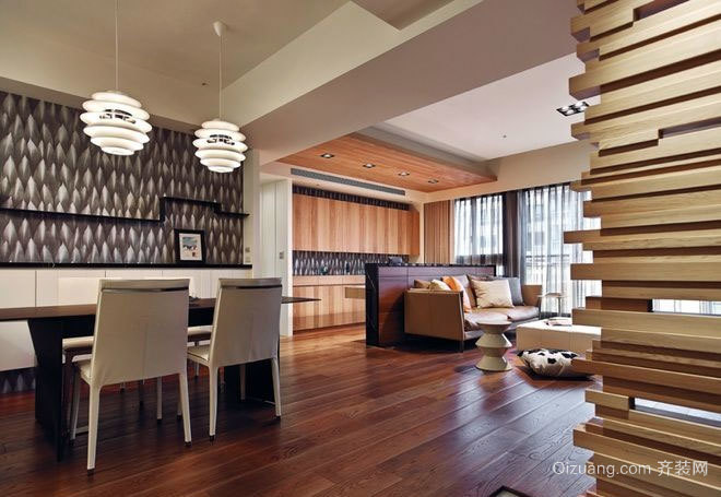 130平米简约原木设计温馨两居室房屋装修效果图
