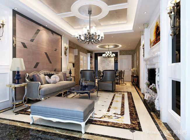 恬淡色调的新古典风格客厅吊顶装修效果图欣赏