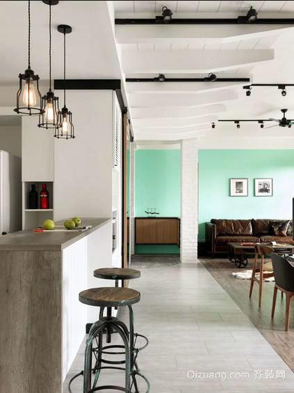 高颜值家居:80平米酷炫工业风loft公寓装修效果图
