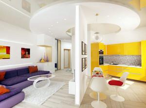 56平米清新女生公寓家居装修效果图