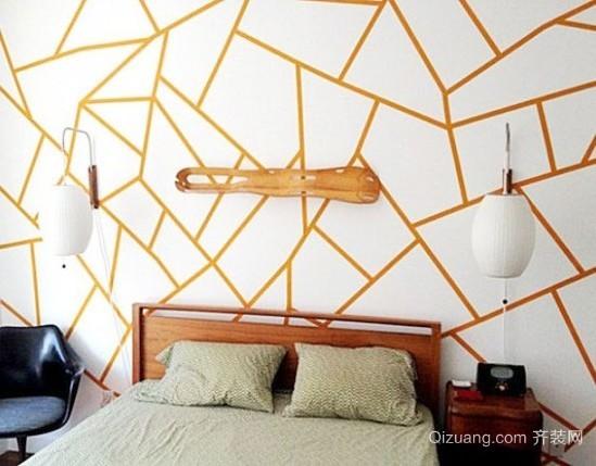 别致几何图案卧室床头墙面背景墙装饰装修效果图
