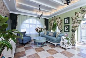 清爽的地中海风格客厅吊顶装修效果图欣赏