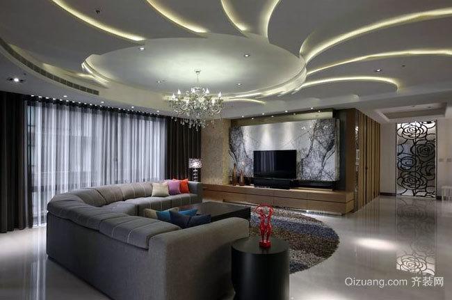 大户型低调内敛的三居室家居装修效果图