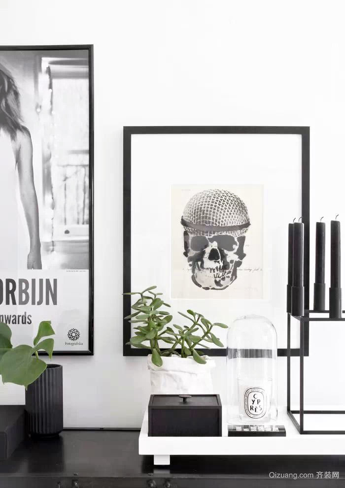 简约黑白系列90平米男士单身公寓家居装修效果图