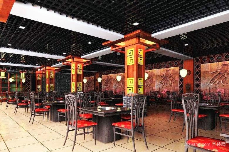 繁华闹市街头的特色火锅店设计效果图大全