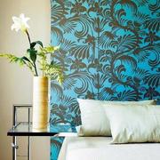 蓝色调床头背景墙