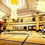 黄色调酒店大厅装修