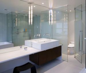 90平米北欧风格精致卫生间活动玻璃隔断效果图鉴赏